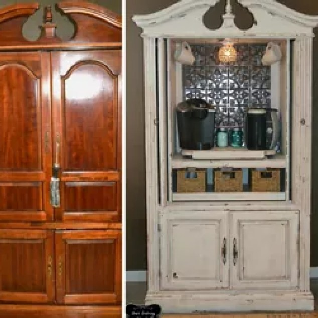 Repurposing An Old T V Armoire Painted Furniture Upcycling Turned Coffee Bar