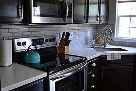 Kitchen Reveal Dark Cabinets Light Counters Countertops Home Improvement Backsplash