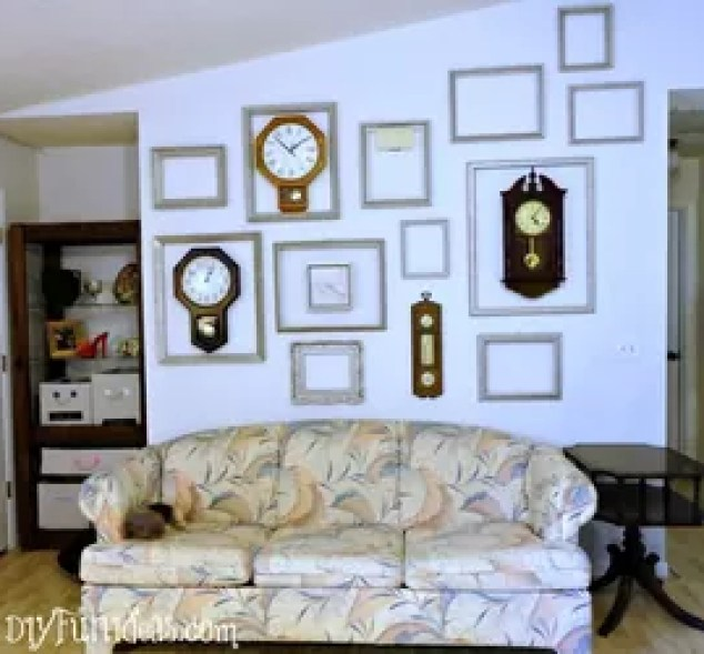 Gallery Wall Vintage Frames Spray Painted White French Chalk Paint Painting Decor
