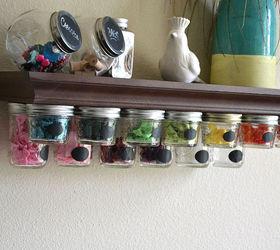 mason jar storage shelf idea | hometalk