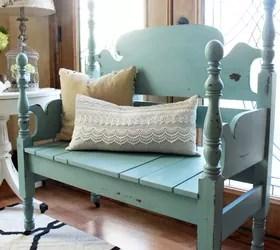 blue headboard bench | hometalk