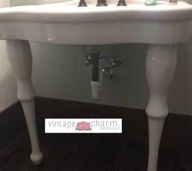 no sew farmhouse pedestal sink skirt