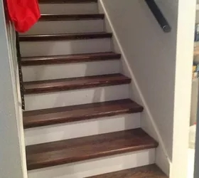 From Carpet To Wood Stairs Redo Cheater Version Hometalk | Tile To Wood Stair Transition | Stair Nose | Flooring | Porcelain | Builder Grade | Threshold
