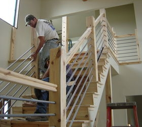Diy Cable Rail Staircase Hometalk | Building A Stair Rail | Craftsman Style | White | Horizontal | Glass | Inexpensive