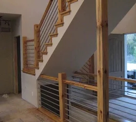 Diy Cable Rail Staircase Hometalk   Barn Wood Stair Railing   Industrial   Farmhouse   Wood Plank   Entryway Stair   Upstairs