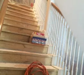 Diy Nasty Carpeted Stairs Removal Hometalk | Carpet Strips For Steps | Border | Carpeted | Adhesive | Builder Grade | Victorian
