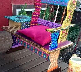 Funky Hand Painted Bench Hometalk