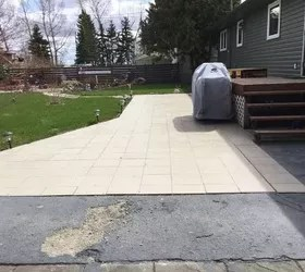 covering an outside ceramic tile patio