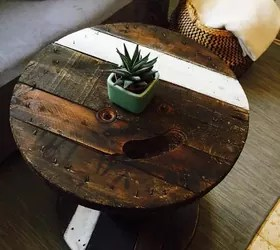 weigh down my cable spool coffee table