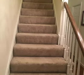 How To Change Stairs From Carpet To Wood Diy Hometalk   Carpet Strips For Steps   Curved Stair   Striped   Gorgeous   Stairway   Middle Stair