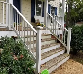 Diy Front Porch Railing Replacement Project Hometalk | Outside Stair Railing Installation | 3 Step | Rail | Painted Porch | Sunroom | Door Offset