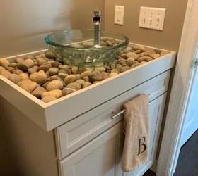 diy river rock bathroom counter and