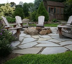 natural flagstone patio fire pit