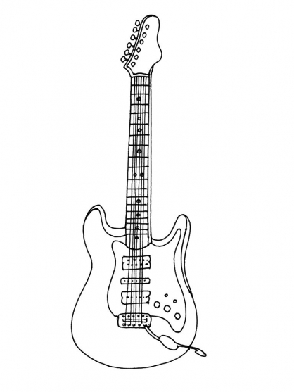 Coloriage La Guitare Lectrique Coloriage Instruments