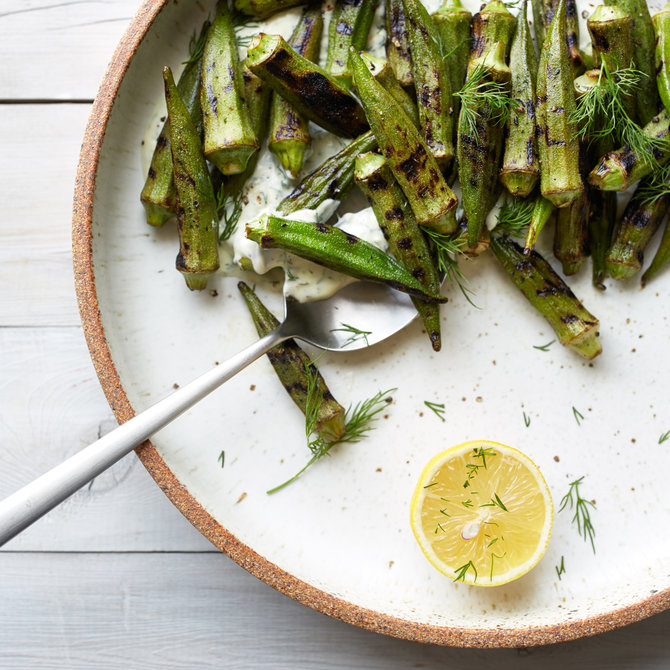Food & Wine: Blistered Okra with Dill Coriander Lebneh