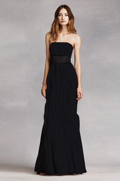 Bycouturier name Strapless Crinkle Chiffon Dress