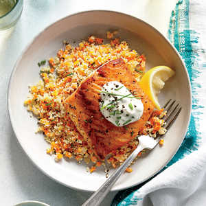 Lemony Roasted Salmon with White Wine CouscousRecipe