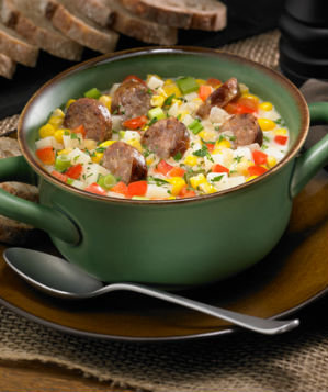 Johnsonville Sausage Corn and Potato Chowder with Mild Italian Sausage