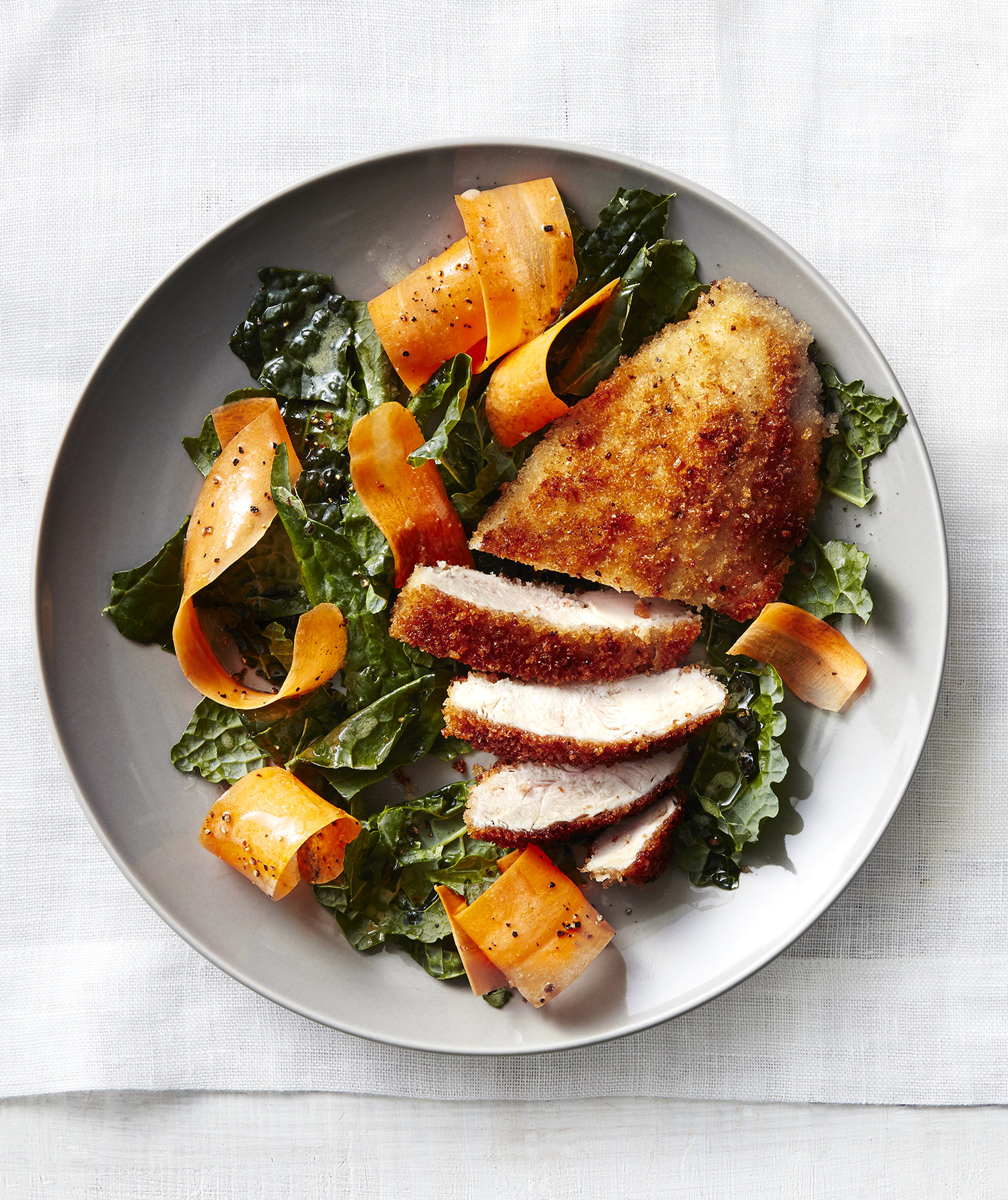 chicken-cutlets-carrot-kale-salad
