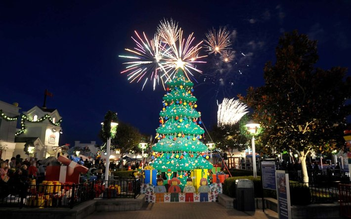 The Legoland Christmas Tree in Carlsbad,  California   Not all Christmas trees are glittering, light-filled pines. Some are made of chainsaws or sand. Others are towering collections of skis and tumbleweeds. Read on for the world's strangest Christmas trees.