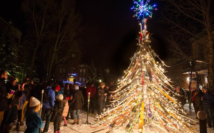 The Ski Tree in Telluride,  Colorado   Not all Christmas trees are glittering, light-filled pines. Some are made of chainsaws or sand. Others are towering collections of skis and tumbleweeds. Read on for the world's strangest Christmas trees.