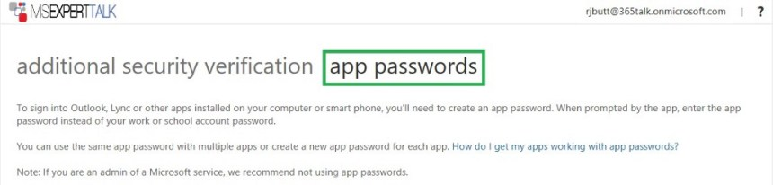 Manage Office 365 App Password