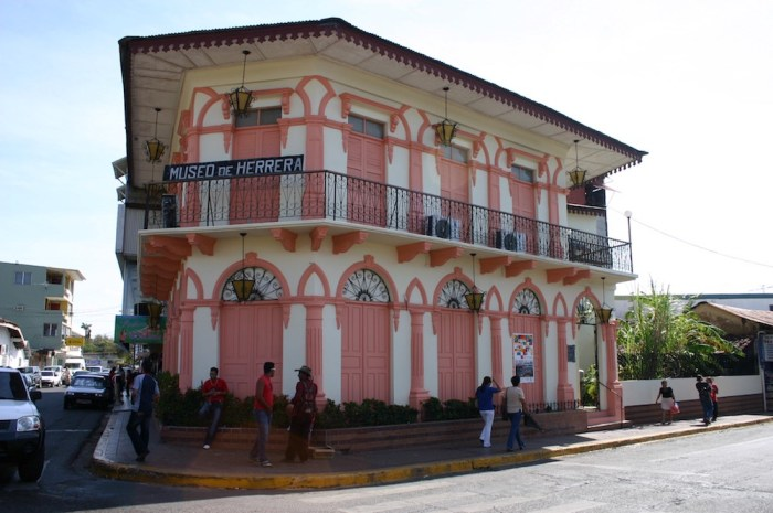 Architecture In Panama Image: The Museo de Herrera is a colourful—painted in white, and a shade of pink.