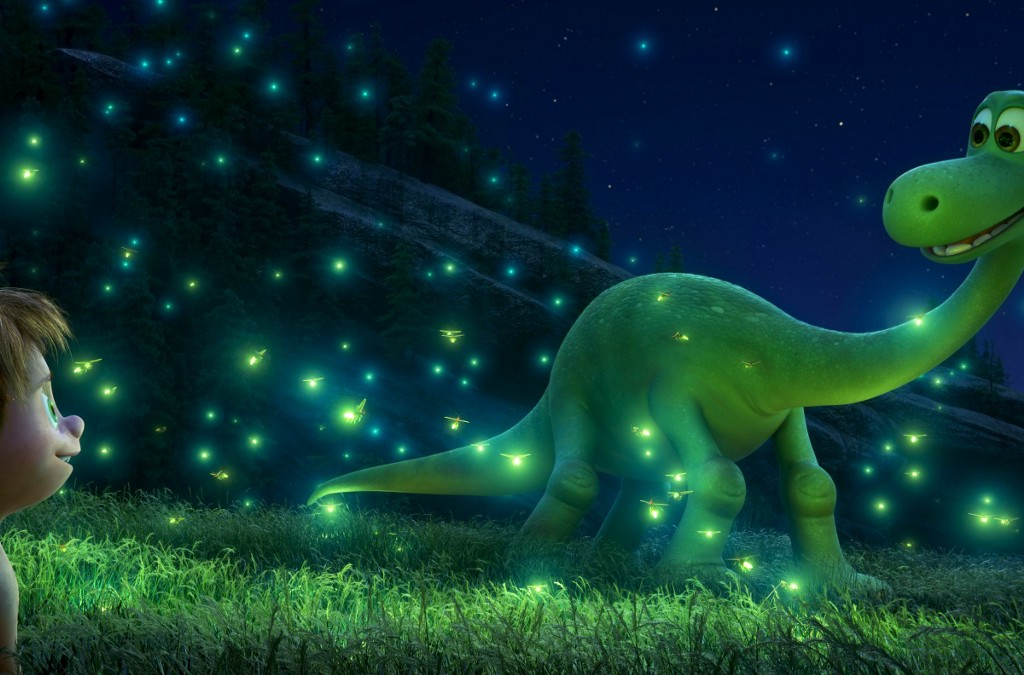 """THE GOOD DINOSAUR – SEEING THE LIGHT — An Apatosaurus named Arlo makes an unlikely human friend in Disney•Pixar's """"The Good Dinosaur."""" Directed by Peter Sohn, """"The Good Dinosaur"""" opens in theaters nationwide Nov. 25, 2015. ©2015 Disney•Pixar. All Rights Reserved."""