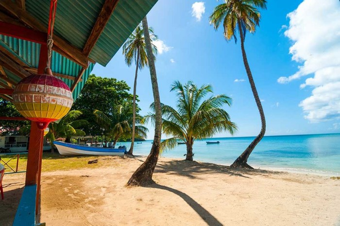 Destinations Worth Dreaming Image: A beach scene shows a boat docked in the sand; a section of a cabana; palm trees, and blue skies overlooking serene bright blue water.