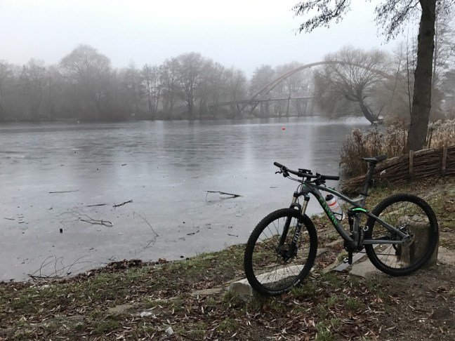 Bike at a frozen river.
