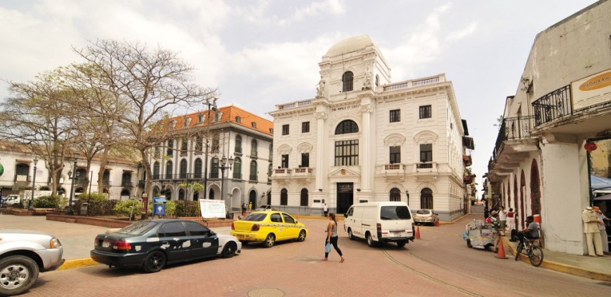Architecture In Panama Image: A view of a quiet city street shows us the cream coloured facades of Panama's old architecture.