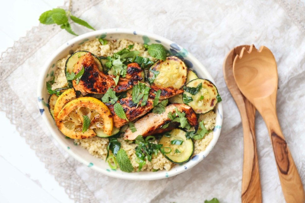 Quinoa and zucchini tabbouleh with harissa chicken, by FIT & NU™.