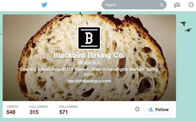 多倫多麵包店Blackbird Baking Company在開店前就利用Twitter吸引人氣。