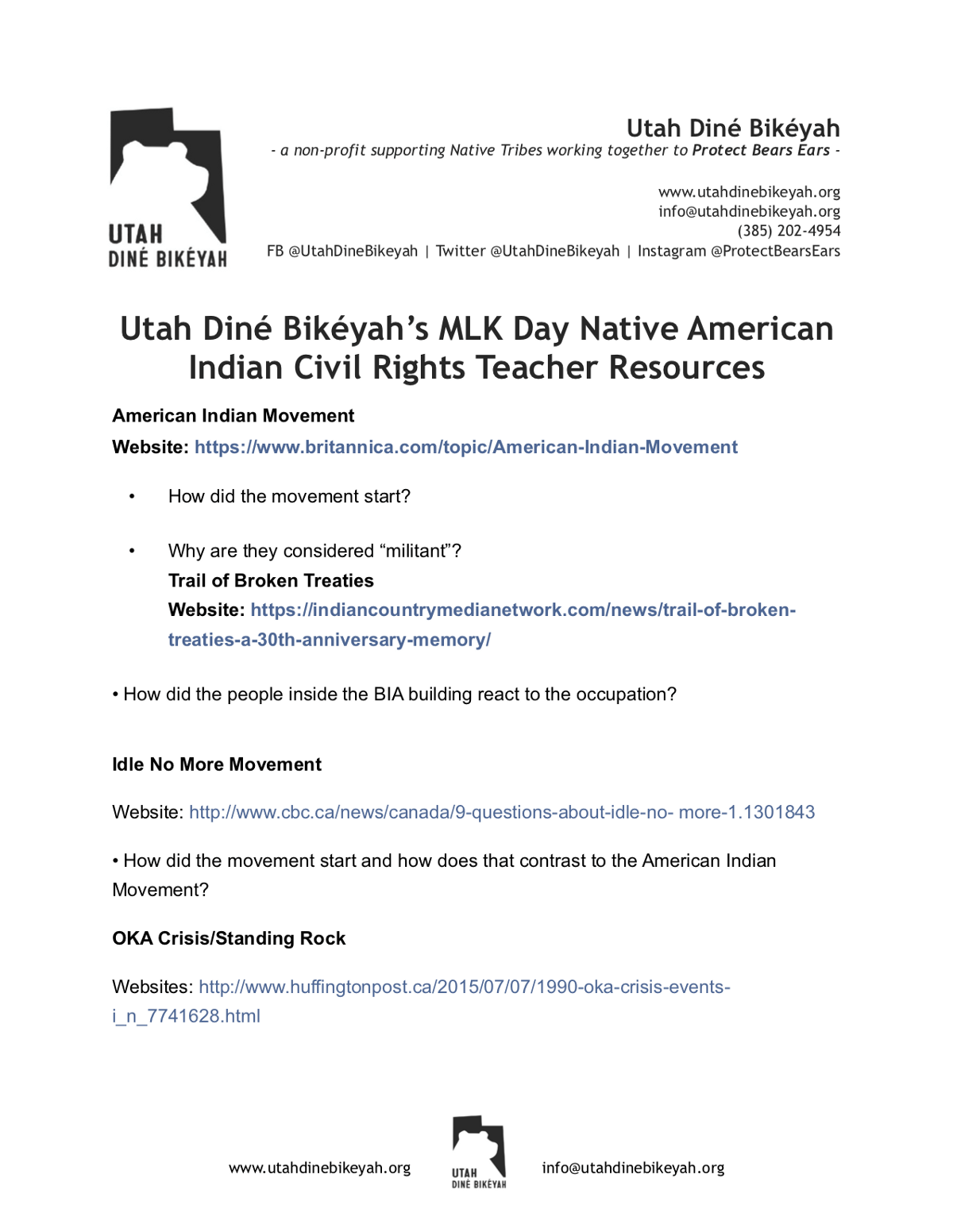Udb Mlk American Indian Civil Rights Worksheet Utah Dine