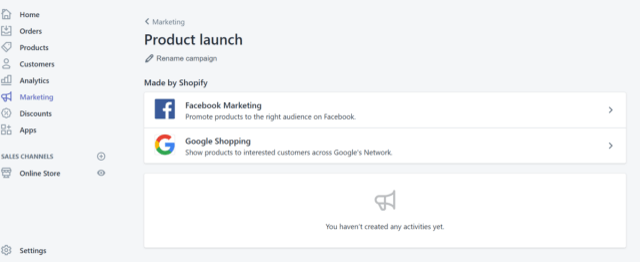 進入shopify marketing頁面後,可以選擇facabook 或 Google shopping兩種投放管道。