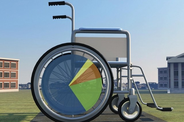 Image Description: An artist installation of a super-large metallic wheelchair with black wheels and multi-colored spokes displayed in an open-air green, grass field with buildings shown in the background. Picture Credit: Randy Lyhus for The Chronicle of Higher Education.