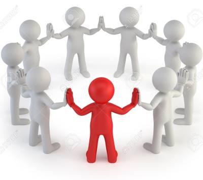 One figure leads a group
