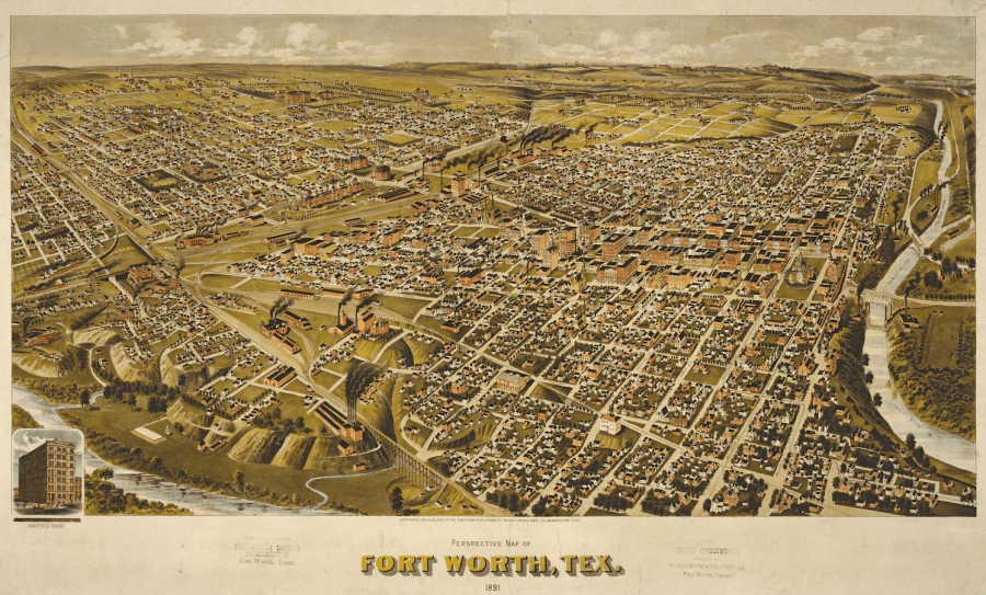 Perspective Map of Fort Worth  Texas  1891     Save Texas History     Medium Henry Wellge  1850   1917   Perspective Map of Fort Worth  Tex  1891   Lithograph  17 25 x 33 4 in  Published by the American Publishing Co  Cor