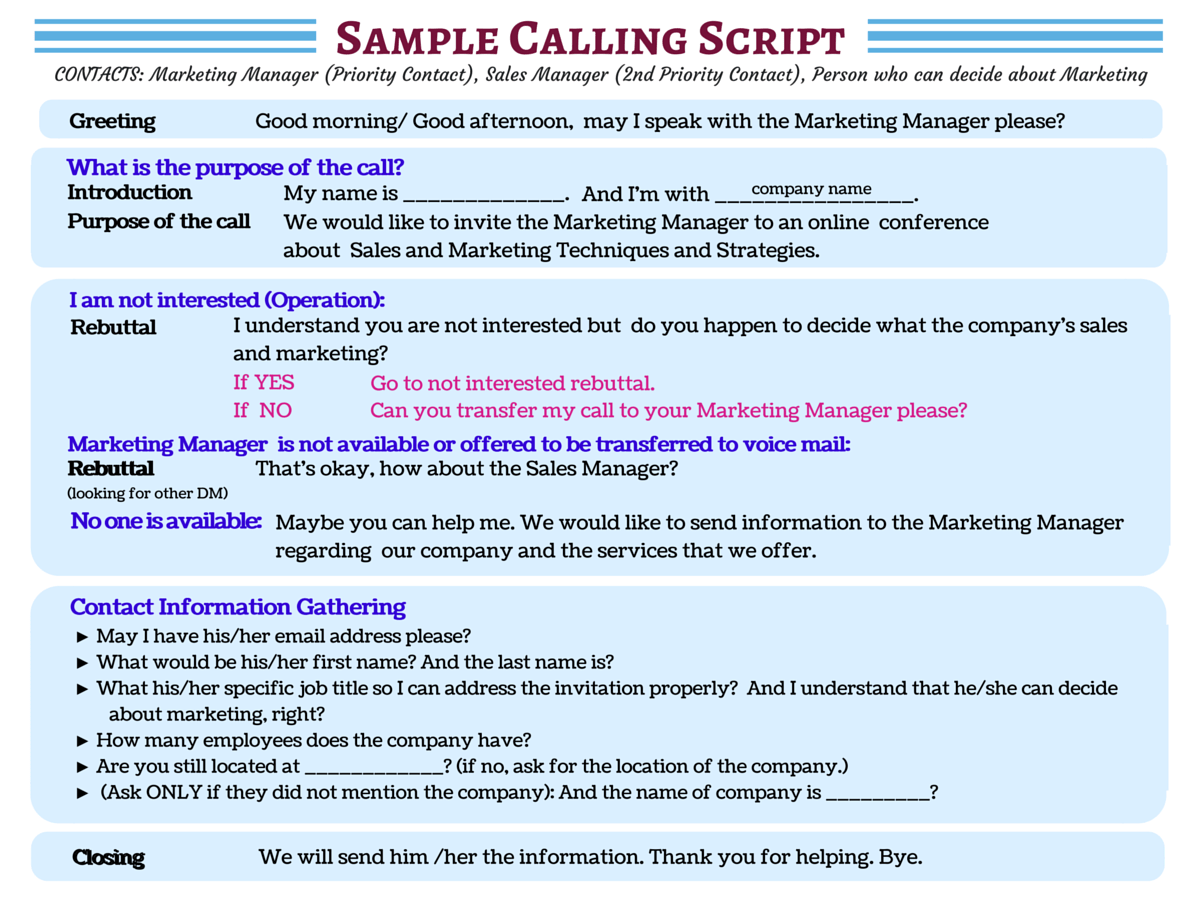 Don T Waste A Moment See Sample Cold Calling Scripts For You