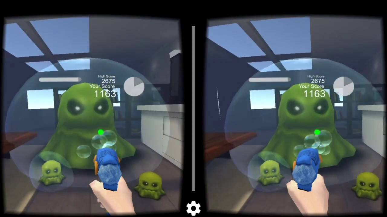 GermBuster  VR Game Review     Selva     Medium If you are using cardboard the gun can be pointed at the target by moving  your head  After each level  the germ monsters get bigger and start getting  closer
