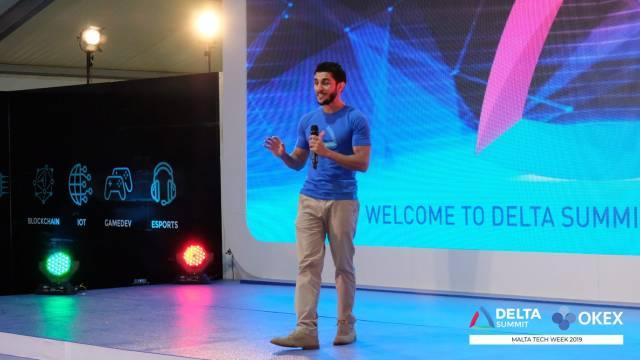 DELTA Summit OKEx Malta Tech Week—Dr Abdalla Kablan delivering speech at Evening Launch Event