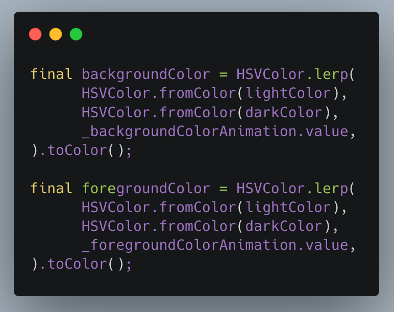 Use of HSVColor….