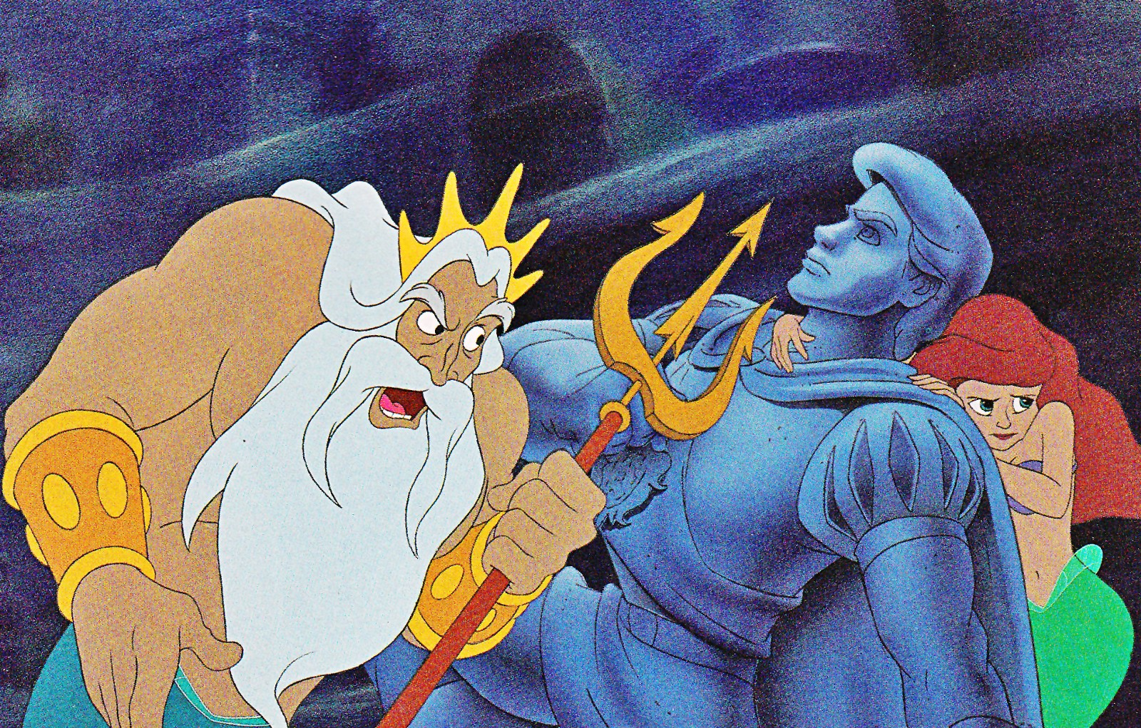 "King Triton confronts his daughter, Ariel, in Disney's ""The Little Mermaid"" (1989)."