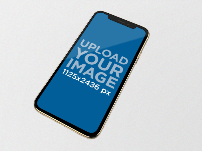 iPhone XS Mockup on a Solid Background