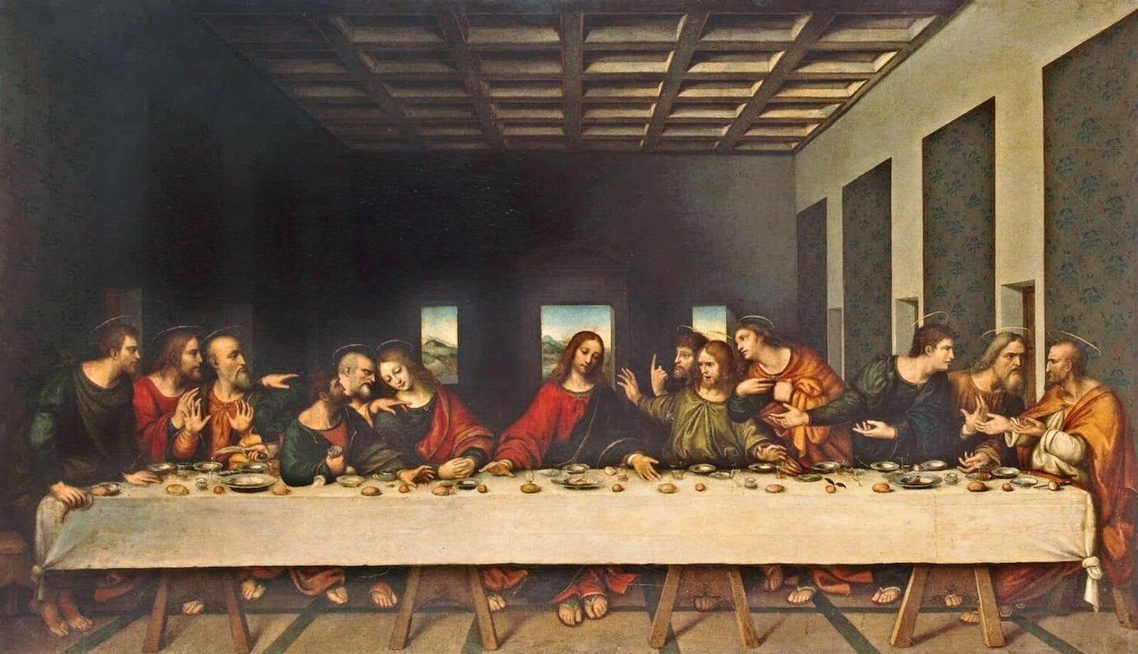 Imagen de la última cena, pintada por Leonardo Da Vinci, donde se pueden ver a los apóstoles alineados con Jesús en el centro. El espectador se encuentra enfrente, viendo la escena, sin ningún obstáculo que pueda interrumpir la vista del conjunto.