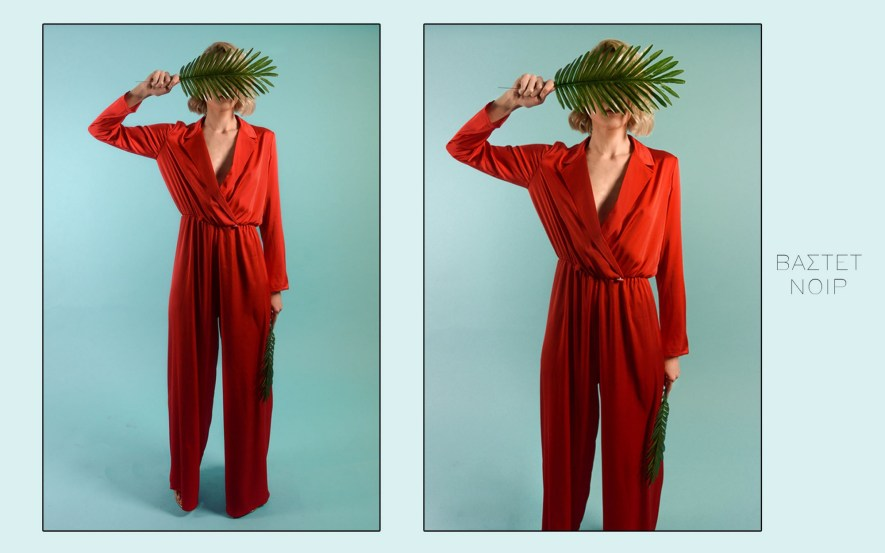 Red silk shirt jumpsuit