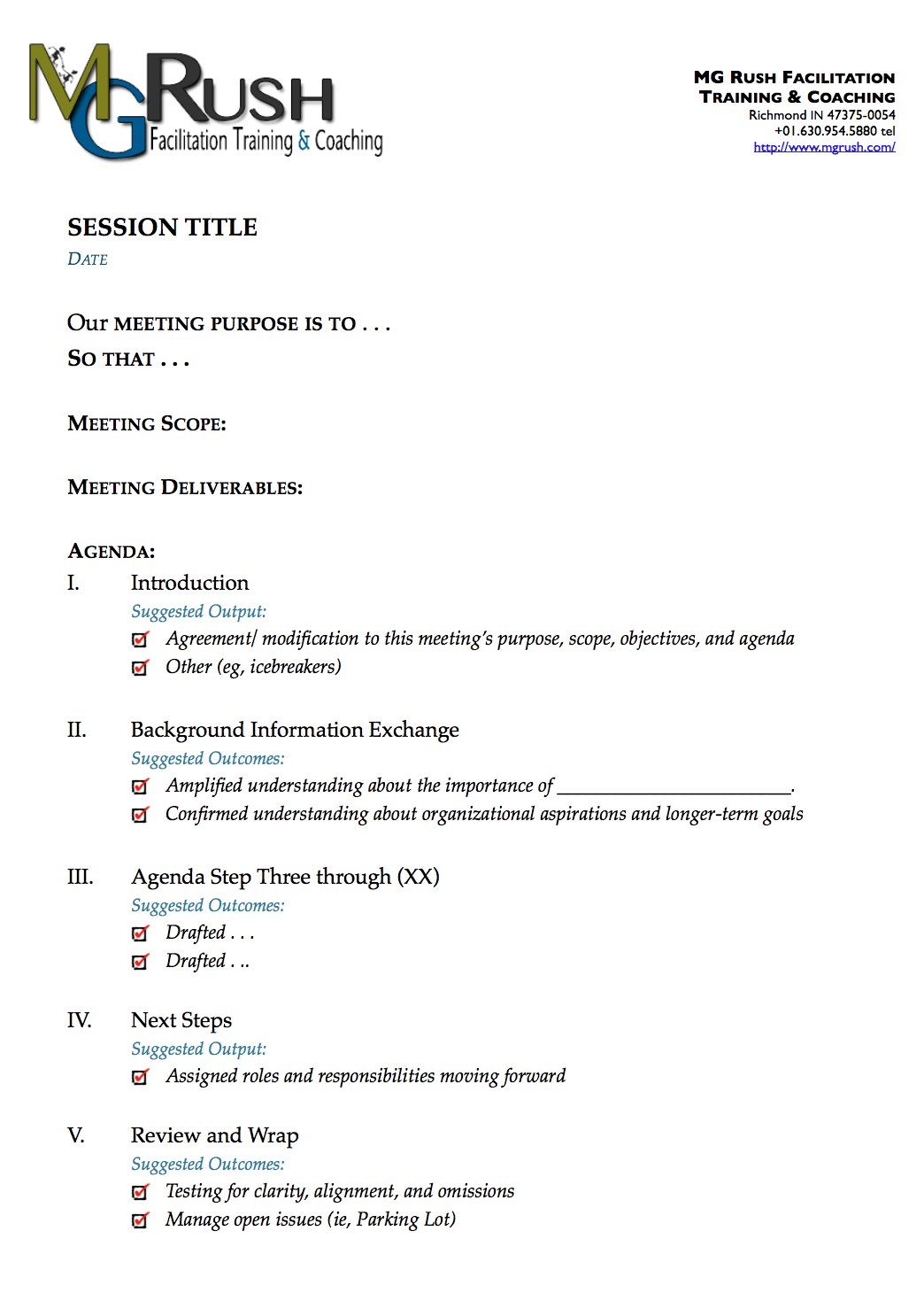 A Simple, Generic, and Effective One-Page Agenda Template