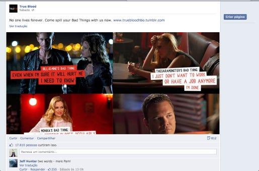 As ações de True Blood focam nas redes sociais e no perfil no novo espectador.