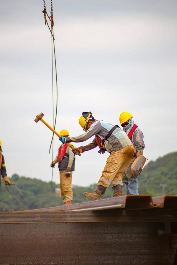 Men hard at work.