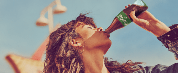 Cocacola brand photography girl drinking from bottle